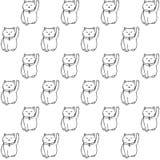 Vector el modelo inconsútil dibujado mano con el modelo inconsútil dibujado luchand japonés del neko del maneki con los gatos afo Imagenes de archivo