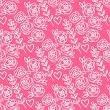 Vector el modelo inconsútil dibujado mano de las rosas y de las flores de la lavanda Rosa aislado en el fondo blanco Fotos de archivo libres de regalías