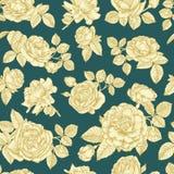 Vector el modelo inconsútil floral con las rosas dibujadas mano del oro Imagen de archivo libre de regalías