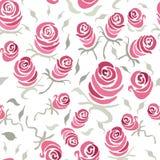 Vector el modelo inconsútil floral con las rosas florecientes hechas a mano Imágenes de archivo libres de regalías