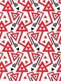 Vector el modelo inconsútil geométrico con las líneas y los triángulos rojos doblados en blanco y negro Fotografía de archivo libre de regalías