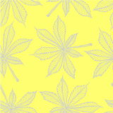 Vector el modelo inconsútil - hojas lineares de la castaña Gris en amarillo Fotos de archivo