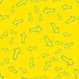 Vector el modelo inconsútil moderno abstracto con las flechas azules sobre amarillo stock de ilustración