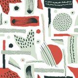 Vector el modelo inconsútil El papel rasgado adornó puntos de la pintura y de la tinta Diversas formas con los bordes acanalados  foto de archivo libre de regalías