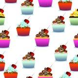 Vector el modelo inconsútil Pasteles, magdalenas lindas, piruletas Imagen de archivo libre de regalías