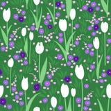 Vector el modelo inconsútil, prado verde del verano con las flores imágenes de archivo libres de regalías