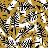 Vector el modelo inconsútil tropical con las plantas exóticas en fondo geométrico abstracto simple Fotografía de archivo