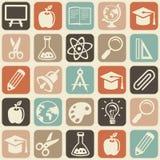 Vector el modelo inconsútil con los iconos de la educación Foto de archivo libre de regalías