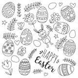Vector el modelo para los huevos de Pascua, flores, página feliz del colorante del modelo de pascua del conejito Fotos de archivo