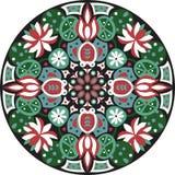 Vector el modelo tradicional oriental del círculo del pez de colores de la flor de loto ilustración del vector