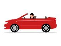 Vector el montar a caballo de la muchacha de la historieta en un cabriolé rojo del coche Imagen de archivo libre de regalías