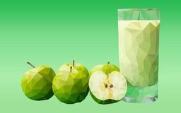 Vector el mosaico poligonal del ejemplo de formas geométricas de diversos colores bajo la forma de manzanas verdes con un vidrio  Foto de archivo