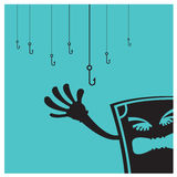 Vector el negocio de la pesca de la metáfora de la cama del dinero en azul Imagen de archivo libre de regalías