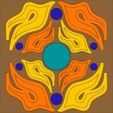 Vector el ornamento abstracto del ejemplo de las lenguas de la llama anaranjadas y de amarillo dispuesto simétricamente enfrente  Fotos de archivo libres de regalías