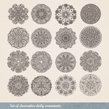 Vector el ornamento indio, estampado de flores caleidoscópico, mandala Sistema de cordón de dieciséis ornamentos modelo redondo o Imagen de archivo libre de regalías