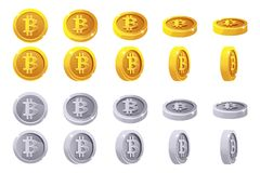 Vector el oro de la rotación de la animación y las monedas de plata de 3D Bitcoin Digitaces o efectivo virtual del moneda y elect stock de ilustración