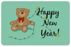 Vector el oso de peluche de la historieta con la guirnalda del árbol de navidad y la frase de la Feliz Año Nuevo ilustración del vector