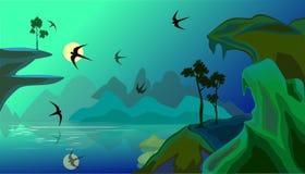 Vector el paisaje con el lago en montañas y gaviotas Imágenes de archivo libres de regalías