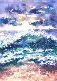 Vector el paisaje con la resaca del mar, pintada en acuarela Paisaje marino Imagenes de archivo