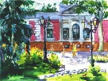 Vector el paisaje de la acuarela de Odessa, Ucrania, ciudad del paisaje en fondo de la textura del papel de la acuarela Fotos de archivo
