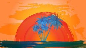 Vector el paisaje de palmeras en un fondo del cielo y del sol abstractos EPS 10 stock de ilustración