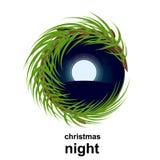 Vector el paisaje del invierno de la noche en círculo de la forma con el árbol de navidad Foto de archivo libre de regalías