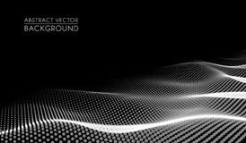 Vector el paisaje digital futurista abstracto con los puntos y las estrellas de las partículas en horizonte Inteligencia artifici stock de ilustración