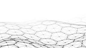 Vector el paisaje digital futurista abstracto con los puntos y las estrellas de las partículas en horizonte Inteligencia artifici Fotografía de archivo