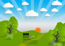 Vector el paisaje verde, la montaña con los árboles y las nubes, estilo de papel del arte
