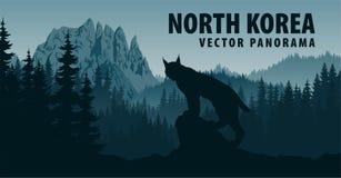 Vector el panorama de Corea del Norte con la montaña Chilbosan y el lince en arbolado stock de ilustración