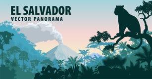 Vector el panorama de El Salvador con la selva más raimforest y el jaguar libre illustration