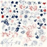 Vector el paquete de las altas flores detalladas grabadas para el diseño Imagen de archivo