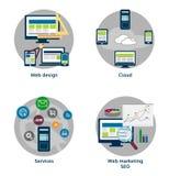 Vector el paquete de los iconos planos del concepto de diseño para el web y el móvil Imágenes de archivo libres de regalías