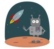 Vector el personaje de dibujos animados del robot en el planeta en espacio con la nave espacial Imagen de archivo libre de regalías