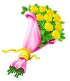 Vector el ramo de flores color de rosa aisladas en blanco Imagen de archivo