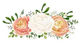 Vector el ramo floral con el rosa blanco, flor E del ranúnculo del melocotón ilustración del vector