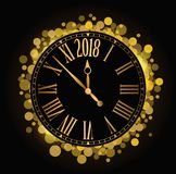 Vector el reloj brillante 2018 del coutdown del Año Nuevo en el backgroun negro Fotos de archivo libres de regalías