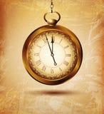 Vector el reloj de bolsillo del vintage en un viejo fondo del grunge Imágenes de archivo libres de regalías