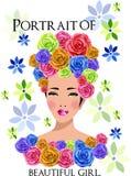 Vector el retrato de la muchacha hermosa Foto de archivo libre de regalías