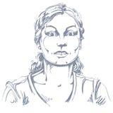 Vector el retrato de la mujer asustada, el ejemplo de sorprendido o el frigh Fotos de archivo libres de regalías