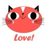 Vector el retrato de un gato enamorado divertido en un fondo ligero Fotografía de archivo