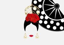 Vector el retrato del bailarín latino o español tradicional de la mujer, señora con el peineta de los accesorios del oro, los pen Imagenes de archivo