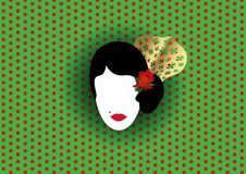 Vector el retrato del bailarín latino o español tradicional de la mujer, señora con el peineta y la flor roja, icono o de los acc Imagen de archivo libre de regalías