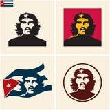 Vector el retrato del comandante Ernesto Guevara Che Guevara y la bandera nacional de la República de Cuba ilustración del vector