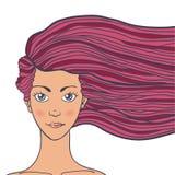 Vector el retrato del ejemplo de una mujer joven con el pelo largo Imagenes de archivo