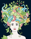 Vector el retrato dibujado mano de la mujer del ejemplo con el pelo, las flores y las hojas florales para el libro de colorear ad Fotografía de archivo libre de regalías