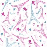 Vector el rosa Grey Drawing Seamless Pattern del amor de París de la torre de Eifel con los corazones románticos Perfeccione para Fotos de archivo