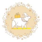 Vector el saludo del cerdo del esquema con el regalo de la Navidad en beige en colores pastel aislado Símbolo del Año Nuevo chino Fotos de archivo