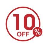 Vector el sello redondo el 10% del descuento plano minimalista apagado Fotos de archivo