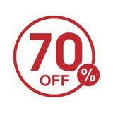 Vector el sello redondo el 70% del descuento plano minimalista apagado Fotografía de archivo libre de regalías